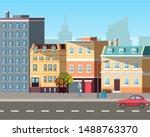 empty street  sun light on... | Shutterstock .eps vector #1488763370