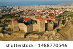 Aerial drone photo of iconic byzantine Eptapyrgio or Yedi Kule medieval fortress overlooking city of Salonica or Thessaloniki, North Greece