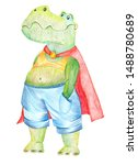Green Cartoon Crocodile In Blu...