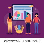people teamwork mobile report... | Shutterstock .eps vector #1488789473