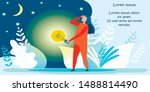 cartoon woman character with... | Shutterstock .eps vector #1488814490