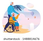seniors couple on sea shore... | Shutterstock .eps vector #1488814676