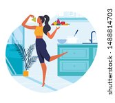 girl with healthy food flat... | Shutterstock .eps vector #1488814703