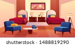 hotel bedroom  motel suit with... | Shutterstock .eps vector #1488819290