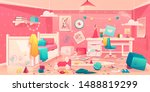 messy bedroom of little girl... | Shutterstock .eps vector #1488819299