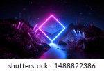 3d Render  Abstract Neon...