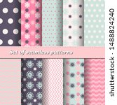 set of trendy seamless floral... | Shutterstock .eps vector #1488824240