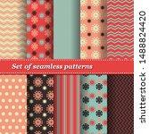 set of trendy seamless floral... | Shutterstock .eps vector #1488824420
