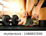 gym interior and woman hand  | Shutterstock . vector #1488852500