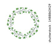 decorative leaf romantic... | Shutterstock .eps vector #1488863429