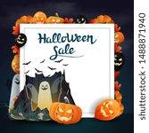 halloween sale  discount banner ... | Shutterstock .eps vector #1488871940