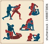 set of fighting club emblems ... | Shutterstock .eps vector #1488873806