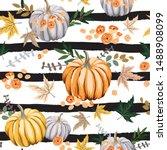 Autumn Orange Pumpkins  Flower...