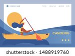 Canoeing Woman In River Or Lak...