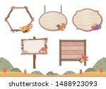 wooden signboard of autumn... | Shutterstock .eps vector #1488923093