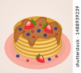 delicious pancakes with syrup... | Shutterstock .eps vector #1488939239