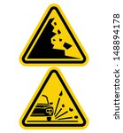 sign of falling rocks and... | Shutterstock .eps vector #148894178