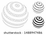 mesh striped abstract sphere... | Shutterstock .eps vector #1488947486