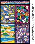 psychedelic background set... | Shutterstock .eps vector #1488950846