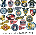 sailing and yachting badges and ... | Shutterstock .eps vector #1488951329