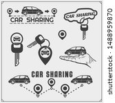 car sharing service emblems and ... | Shutterstock .eps vector #1488959870