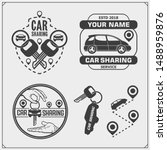 car sharing service emblems and ... | Shutterstock .eps vector #1488959876