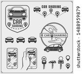 car sharing service emblems and ... | Shutterstock .eps vector #1488959879