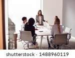 female boss gives presentation... | Shutterstock . vector #1488960119