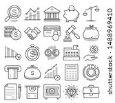 finance line vector icon set | Shutterstock .eps vector #1488969410