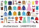 woman and man clothes and... | Shutterstock .eps vector #1488991403