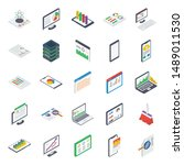 business report isometric icons ... | Shutterstock .eps vector #1489011530