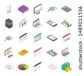 mobile analytics isometric... | Shutterstock .eps vector #1489011536