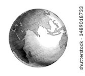 antique globe hand drawing... | Shutterstock .eps vector #1489018733