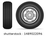 car tires isolated on white...   Shutterstock .eps vector #1489022096