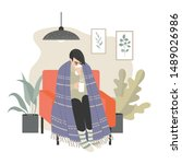 a girl wrapped in a plaid...   Shutterstock .eps vector #1489026986