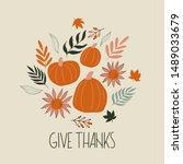 give thanks autumn illustration ...   Shutterstock .eps vector #1489033679