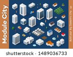 a set of isometric city | Shutterstock . vector #1489036733
