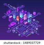 isometric city set of violet... | Shutterstock . vector #1489037729