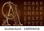 vintage floral alphabet set.... | Shutterstock .eps vector #148904018