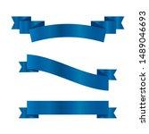 blue ribbons set.vector ribbon... | Shutterstock .eps vector #1489046693