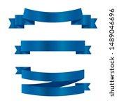 blue ribbons set.vector ribbon... | Shutterstock .eps vector #1489046696