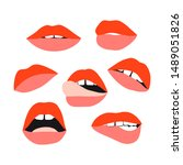 woman's lip set. girl mouths... | Shutterstock .eps vector #1489051826