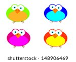 four isolated cartoon style... | Shutterstock .eps vector #148906469