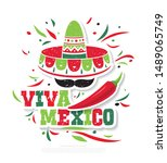 mexican banner layout design.... | Shutterstock .eps vector #1489065749
