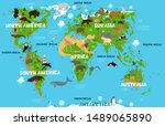 children's world map with the... | Shutterstock .eps vector #1489065890