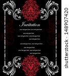 Invitation Card On Floral...