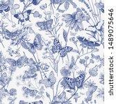 butterflies and wild flowers.... | Shutterstock .eps vector #1489075646