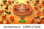 happy halloween trick or treat... | Shutterstock .eps vector #1489117640
