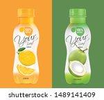 design a bottle of fruit juice  ... | Shutterstock .eps vector #1489141409