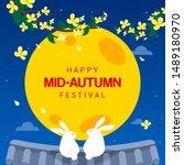 happy mid autumn festival card... | Shutterstock .eps vector #1489180970